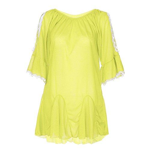 Show Trunk Underwear - WEUIE Women Blouse Hot Sale! Women Fashion Plus Size Lace Summer Leaking Shoulder Cotton Tops Shirt Blouse (2XL,Yellow)