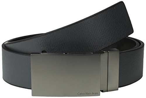 Leather Logo Plaque - Calvin Klein Men's Embossed to Smooth Reversible Belt, Grey/Black, 36