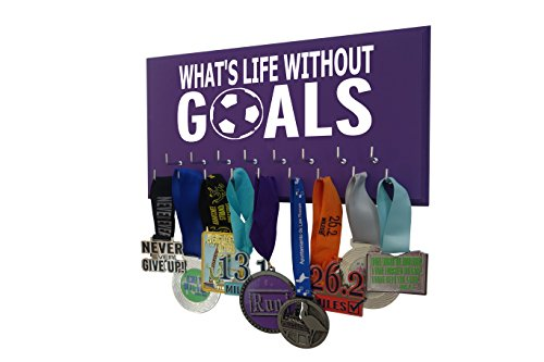 Running On The Wall Soccer Medal Holder - Whats Life Without Goals - Display for All Awards, Medals, Ribbons and Trophy for Soccer Player and Soccer Coach - Soccer Gift