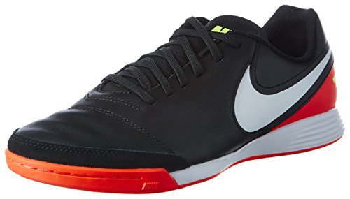 Nike Men's Tiempo Genio II Leather IC Indoor Soccer Shoe (Sz. 10) Black, Hyper Orange