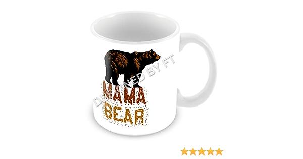FT - Taza de cerámica blanca, de 325 ml, con diseño gracioso de silueta de mamá oso: Amazon.es: Hogar