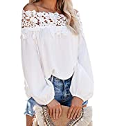 Asvivid Womens Swiss Polka Printed Smocked Off The Shoulder Tops Summer Flared Bell Sleeve Chiffo...