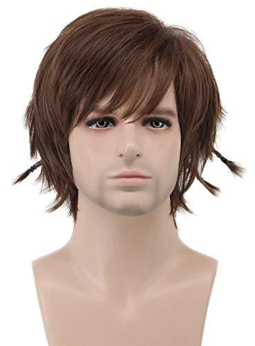 Karlery Men Short Wave Fluffy Braid Brown Wig Halloween Costume Wig Anime Cosplay Wig]()