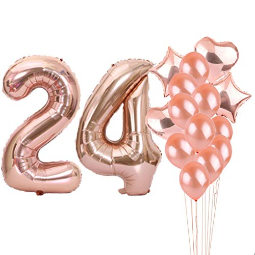 (24th Birthday Decorations Party Supplies,24th Birthday Balloons Rose Gold,Number 24 Mylar Balloon,Latex Balloon Decoration,Great Sweet 24th Birthday Gifts for Girls,Photo)
