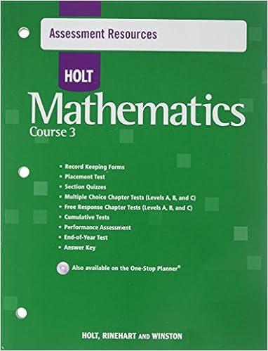 Holt Mathematics Course 3 Assessment Resources