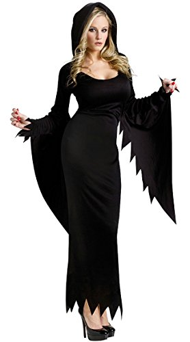 M_Eshop Halloween Women's Gothic Fairytale Witch Costume Black Long Dress Hoodies - Elvira Costume Size 14