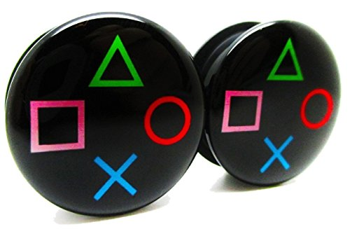 Playstation Controller Ear Plugs - Acrylic - Screw on - NEW *Pair* (0 Gauge (8mm))