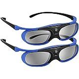 BOBLOV DLP Link 3D Glasses Active Shutter 144Hz Rechargeable 3D Eyewear for All DLP-Link 3D Projectors Compatible with BenQ, Optoma, Dell, Acer, Vivitek, Viewsonic DLP Projector (Blue-2 Pcak)