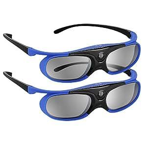 BOBLOV Active Shutter 3D Glasses DLP-Link USB Blue Compatible BenQ W1070 W700 Dell DLP Projectors (Blue-2 Pcak)