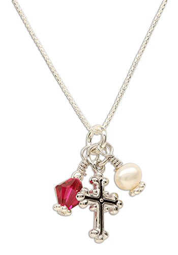 Girl's First Communion Sterling Silver July Swarovski-Created Birthstone Cross Necklace with Cultured Pearl -