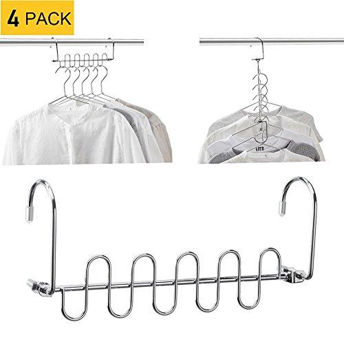 MeetU Magic Cloth Hanger Wonder Space Saving Hangers Metal Closet Organizer for Closet Wardrobe Closet Organization Closet System (Pack of 4) by MeetU