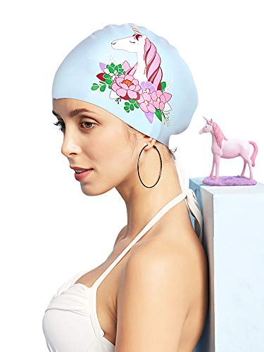 FUNOWN Silicone Swim Cap for Women, Waterproof Long Hair Swimming Caps Special Printed 3D Ergonomic Design Comfortable Fit Silicone Swim Caps Swimming Cap for ()