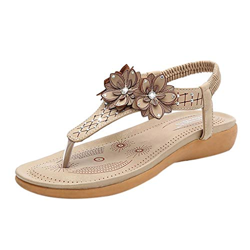 Cenglings Women's T-Strap Sandals, Clip Toe Rhinestone Flowers Sandals Casual Slip On Beach Sandals Platform Shoes Beige