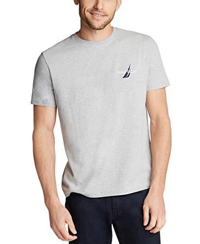 Nautica Men's Short Sleeve Logo Series Graphic Tee, Grey Heather Large