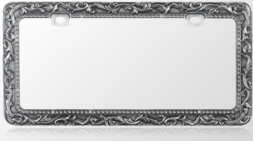 amazoncom car metal license plate frame vintage lace design gun metal t smoke diamond crystals automotive