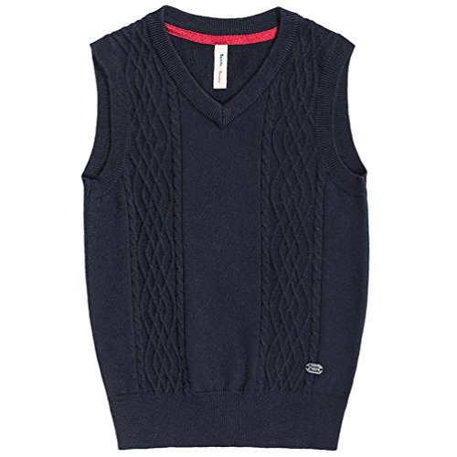 Cable Knit Wool Vest - Benito & Benita Boys' Sweater Vest Woolen Cable V-Neck School Uniform Vest (Size 6-16) Homecoming Gifts for Boys Navy