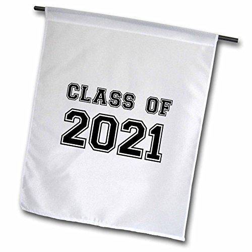 3dRose InspirationzStore Typography - Class of 2021 - Graduation gift - graduate graduating high school university or college grad black - 12 x 18 inch Garden Flag (fl_162672_1)