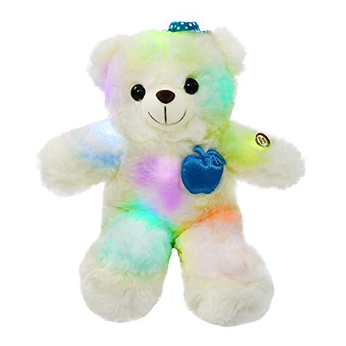 WEWILL LED Teddy Bear Glow Stuffed Animals Light up Plush Soft Toy Colorful Flash,Gifts for Girlfriends Kids on Mother's Day Birthday or Festival, 15-Inch (Blue)