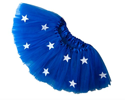[Southern Wrag Company Girls to Adults ROYAL BLUE STAR Tutu SHORT Length 11in (M: TUTU WAIST 22-44)] (Usa Flag Dress Teen Costumes)