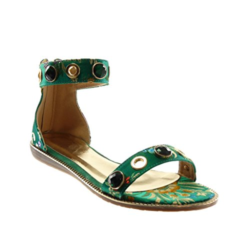 Angkorly Women's Fashion Shoes Sandals - Ankle Strap - Jewelry - Flowers - Embroidered Wedge 1.5 cm Green KsSCu
