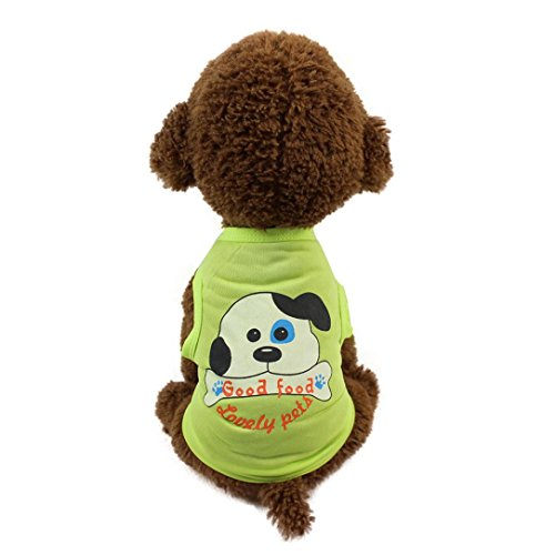 haoricu Pet Clothing, Fashion Cut Carton Printed Puppy Cat Tee Vest Small Dogs T Shirt Pet Costume (L, B)