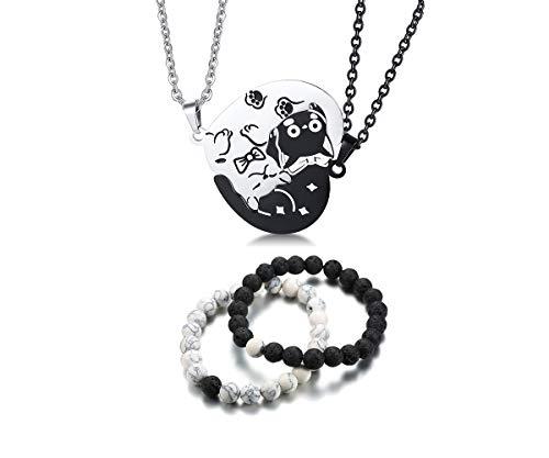 (XUANPAI Matching Couple Yin Yang Pet Matching Cute Cat Puzzle Necklace Dog Tag Pendant Distance Beads Bracelet(Cat Necklace+Bracelet))