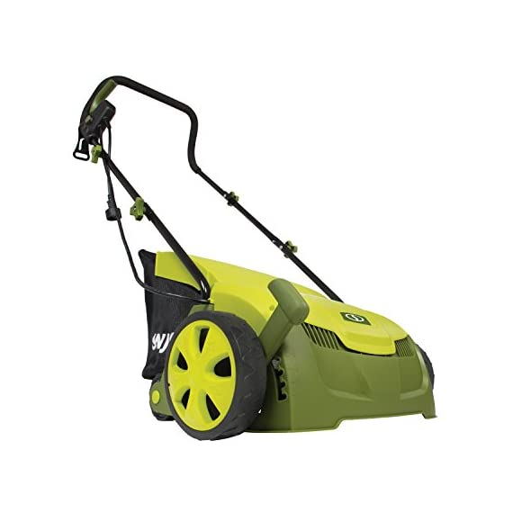 "Sun Joe AJ801E 13 in. 12 Amp Electric Scarifier + Lawn Dethatcher w/Collection Bag, Green 2 <p>LET YOUR LAWN BREATHE. Get your lawn in top green shape with the Sun Joe Dethatcher Joe AJ801E 12.6-inch electric scarifier + lawn dethatcher. Powered by a robust 12-amp motor, the Dethatcher Joe rakes a 12.6-inch wide path in a single pass to get your job done fast. Enhancing its raking ability is Airboost technology, which maximizes thatch pickup with spring steel tines that stay sharp longer for reliable performance. Use the 5-position depth control knob to tailor the raking depth from -0.4 in. (10 mm below the soil) to 0.4 in. (10 mm above the soil), depending on your lawn's scarifying or dethatching needs. Scarifying your lawn at regular intervals cuts grass roots and encourages growth for thicker, healthier turf. Thatch is a dense mat of roots, stems and grass clippings that accumulates on lawns over time, blocking the flow of water, oxygen and vital nutrients. It is important to periodically remove thatch in order to keep your lawn green and healthy. While ordinary manual rakes are tiresome to use and not very effective, the electric Dethatcher Joe starts instantly with the push of a button and easily gets the job done without polluting the atmosphere with toxic carbon emissions. No gas, oil or tune-ups make the Sun Joe Dethatcher Joe your green choice for greening your lawn. ETL-approved. 2-year warranty. Powerful: 12-amp motor rakes a 13"" wide path to get your job done faster Adjustable deck: tailor raking depth with 5-position depth control Scarified: use the Scarified function to cut grass roots for thicker growth, healthier lawns Air boost technology: spring Steel tines for maximum thatch pickup Accessories: detachable thatch collection bag for easy disposal We've got you covered! : your new Dethatched is backed by the snow Joe + Sun Joe customer promise. We will warrant New, powered products for two years from the date of purchase. No questions asked. Contact snow Joe + Sun Joe customer Support at 1-866-766-9563 for further assistance.</p>"
