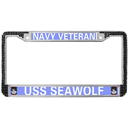 - ken fi Stainless Steel License Plate Frame Diamond Navy Veteran USS Seawolf License Plate Frame License Plate Frame with Screw Caps Cover Set Suit