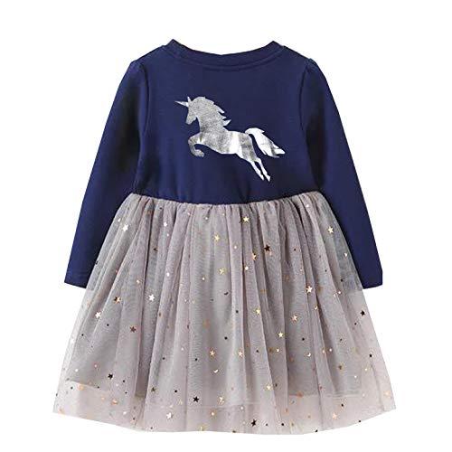 VIKITA Toddler Girl Long Sleeve Princess Pony Horse Dress Baby Girls Winter Birthday Dresses Great Gift (4T, LH4580) ()