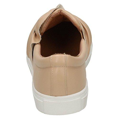 Ladies Spot On Style 216 Twist Vamp Slip On Plimsolls Nude (Ivory) 4Mw5pZ