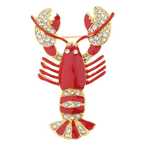 Fashion Bling Crystal Lovely Charm Animal Brooch Pin Animal Fruit Shaped   Color - Crayfish Shape
