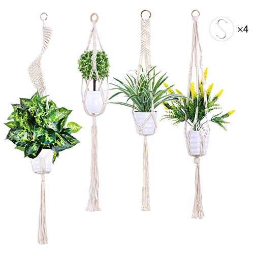Nxconsu Plant Hanger Macrame Indoor Outdoor Handmade Hanging Planter Basket Cotton Rope Boho Spiral Home Decor with Hook (KPBS 4Types) ()