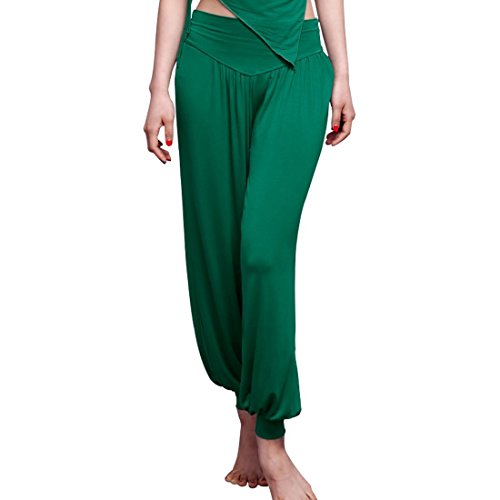 Bootcut Trousers Cotton (Feimei Loose Baggy Jogger Pants Yoga Legging with 100% Modal Cotton Ideal for Workout and Belly Dance (Green, Large))