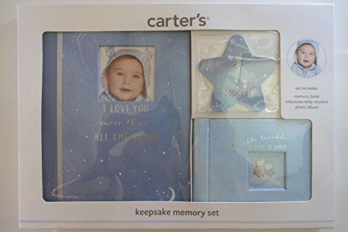 [해외]카터의 푸른 기념품 메모리 세트 포함: 메모리 북 마일스 톤 배 스티커 사진 앨범 / Carter`s Blue Keepsake Memory Set Includes: Memory Book Milestone Belly Stickers Photo Album