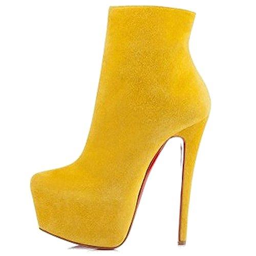 Cuckoo Frauen Runde Zehe Plattform Stiletto High Heels Kleid Stiefeletten Gelber Wildleder