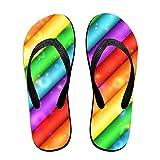 Kefanlk Unisex Abstract Rainbow Flip Flops, Mens Womens Thong Sandals Lightweight Slippers Beach