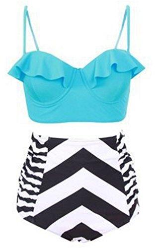 Traje de Baño Mujer YOGLY Traje de Baño de la Impresión Digital del Bikini de Talle Alto Azul