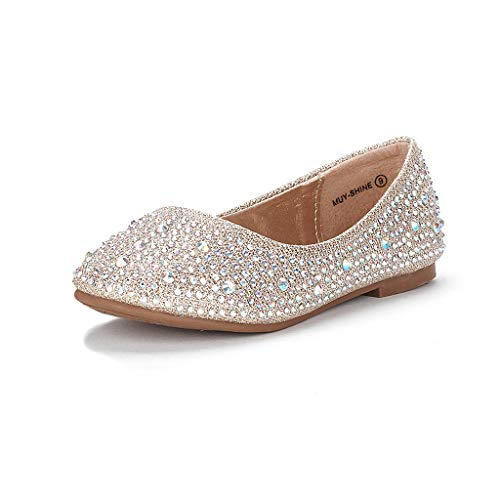DREAM PAIRS Little Kid Muy-Shine Gold Glitter Girl's Mary Jane Ballerina Flat Shoes - 3 M US Little Kid]()