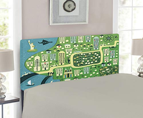 Lunarable York Headboard for Twin Size Bed, Cartoon Illustration of NYC with Absurd Hand Drawn Urban Icons and Central Park, Upholstered Decorative Metal Headboard with Memory Foam, Multicolor ()