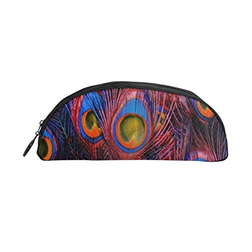 Peacock Feathers Pencil Case Semi-Circle Pencil Pouch Travel Makeup Cosmetic Bag