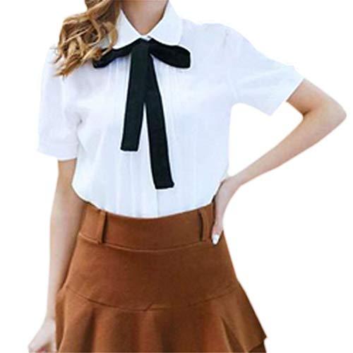 XWDA Women's Chiffon Peter Pan Collar Short Long Sleeve Bowknot Button Shirt Blouse (M, 6# White Short Sleeve)