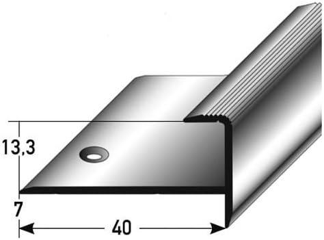 Perfil de acabado / guardacanto, por parquet, 13,3 mm de elevación, aluminio anodizado, perforado: Amazon.es: Hogar