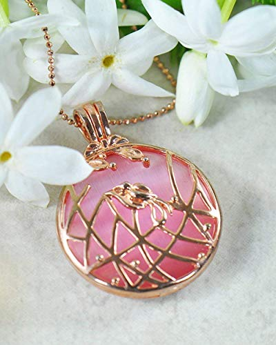 Sivalya WILDFLOWER Rose Quartz Pendant Necklace - 925 Sterling Silver with Rose Gold Plating - Great Gift for Her