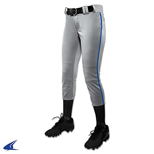 CHAMPRO Girl's (Youth) Tournament Fastpitch Pant with Piping Gray/Royal XL