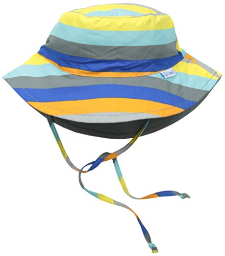 i play. Toddler Reversible Bucket Sun Protection Hat, Gray/Multi Stripe, 2T-4T (Hat Reversible)