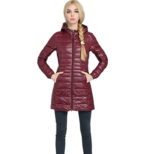 Pillow Women's Coat Packable Red Jackets Down Powder Down Wine Outwear Lightweight LJYH 0qwTdX0