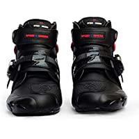 Leoie Men Soft Motorcycle Boots Biker Waterproof Speed Motocross Boots Non-Slip Motorcycle Shoes Black 8.5