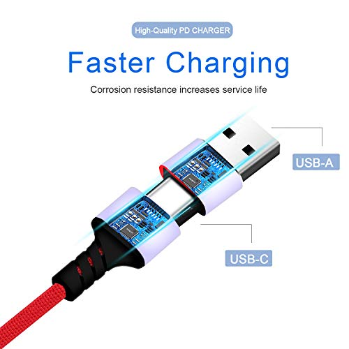 Amuvec USB C to C PD Fast Charging Cable, 2 in 1 USB-A/C to Multi 4 in 1 Type C(QC3.0 and Data Sync) /2Phone/Micro USB Charge Cord Compatible with Samsung Galaxy, Google Pixel, LG, Tablets(4FT/Red)