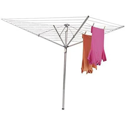 Household Essentials 1710 Height Adjustable Outdoor Umbrella Drying Rack |  Aluminum | 12 Lines 165