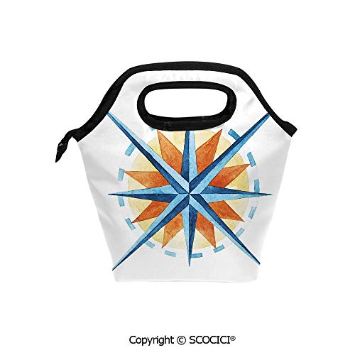 Reusable Printed Design Lunch Bag Watercolor Directions North South East West Windrose Pathfinding Work of Art Lunch Tote bag for Work and School.